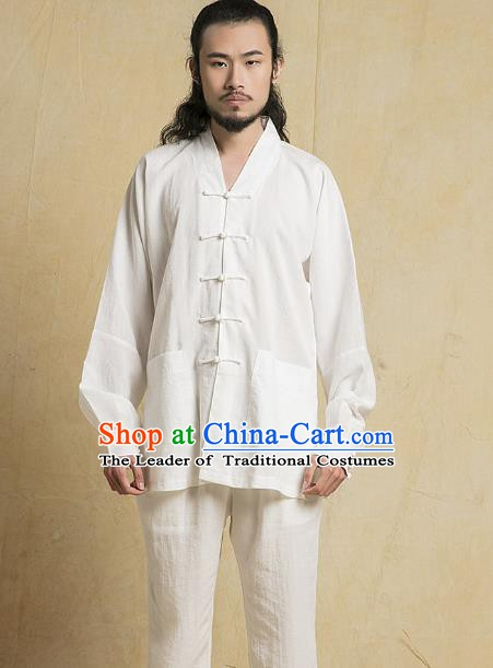 Chinese Kung Fu Tang Suits Costume Martial Arts Gongfu White Suits Wushu Tai Chi Clothing for Men