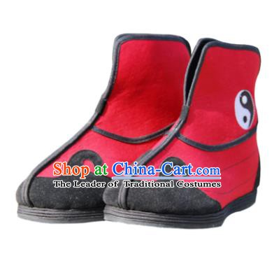 Chinese Traditional Handmade Tai Chi Cloth Shoes Red Boots Martial Arts Shoes Kung Fu Shoes for Men