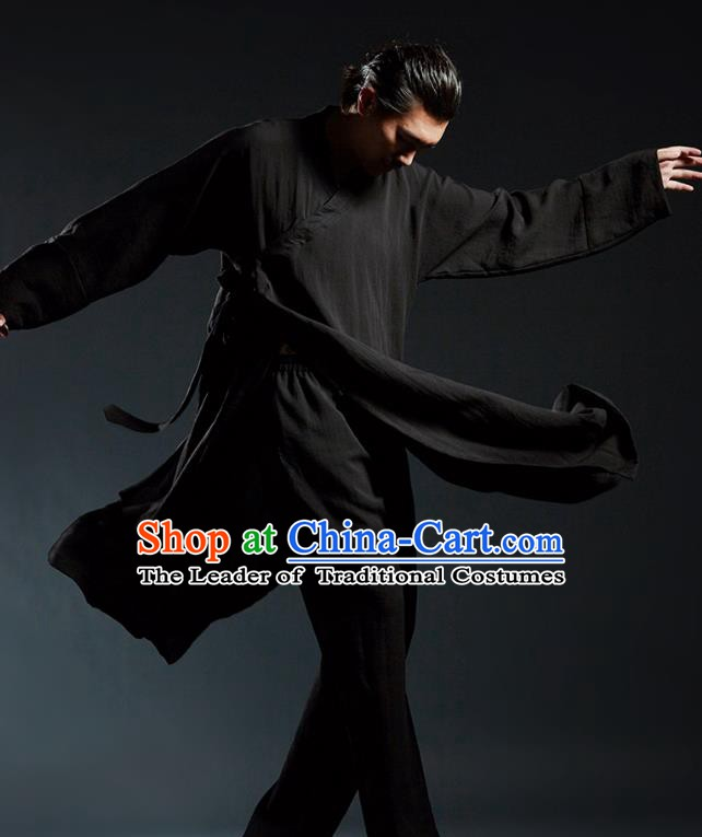 Top Grade Kung Fu Costume Martial Arts Training Black Uniform Gongfu Wushu Tang Suit Clothing for Men