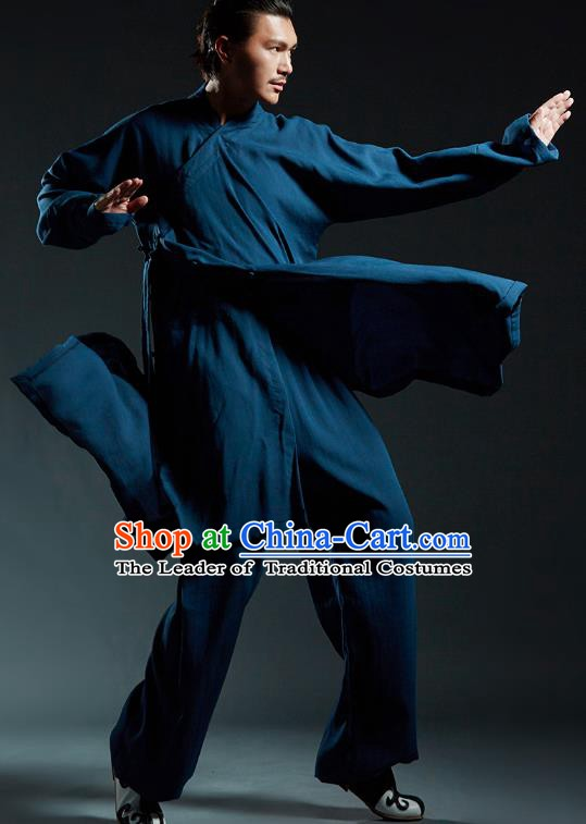 Top Grade Kung Fu Costume Martial Arts Training Blue Uniform Gongfu Wushu Tang Suit Clothing for Men