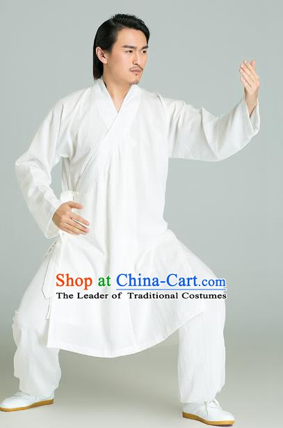 Top Grade Linen Kung Fu Costume White Long Robe Martial Arts Training Gongfu Wushu Tang Suit Clothing for Men
