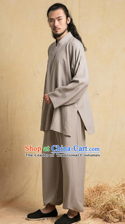 Top Grade Kung Fu Costume Martial Arts Training Grey Linen Suits Gongfu Wushu Tang Suit Clothing for Men