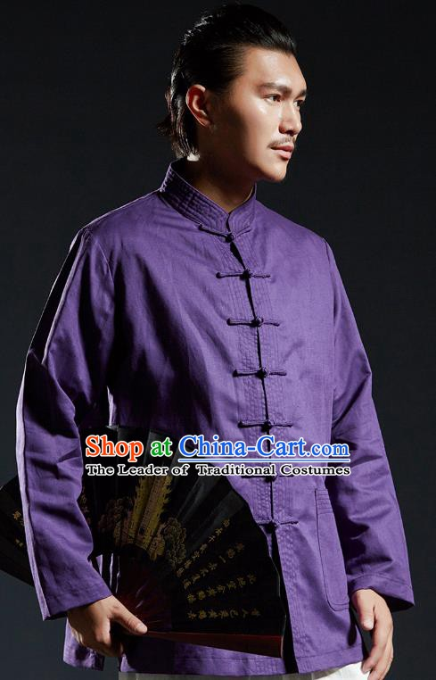 Chinese Kung Fu Shirts Martial Arts Purple Linen Jacket Gongfu Costume Wushu Tai Chi Clothing for Men