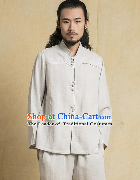 Chinese Kung Fu Martial Arts Grey Costume Tang Suits Gongfu Wushu Tai Chi Clothing for Men