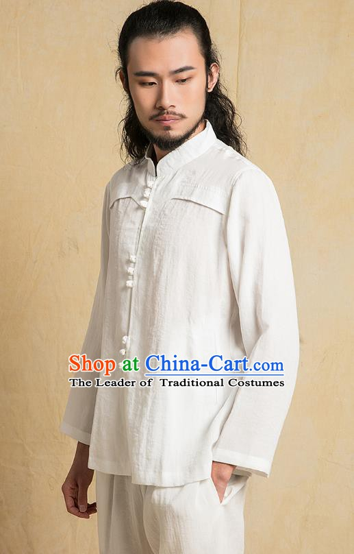 Chinese Kung Fu Martial Arts White Costume Tang Suits Gongfu Wushu Tai Chi Clothing for Men