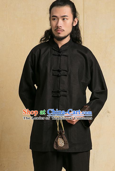 Chinese Kung Fu Martial Arts Costume Tang Suits Gongfu Wushu Tai Chi Black Clothing for Men
