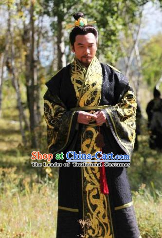 Traditional Chinese Ancient Warring States Period Qin State Emperor Ying Si Replica Costume for Men