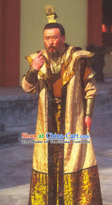 Traditional Chinese Ancient Chunqiu Period Jin State Emperor Xian Replica Costume for Men
