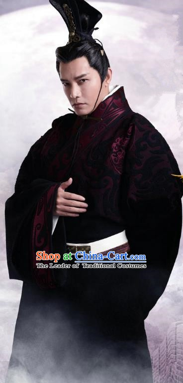 Traditional Ancient Chinese Qin Dynasty Prime Minister Eunuch Zhao Gao Replica Costume for Men