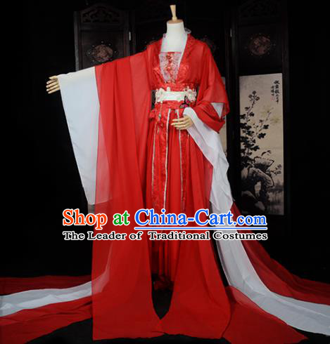 Chinese Ancient Female Knight Embroidered Wedding Costume Cosplay Princess Red Dress Hanfu Clothing for Women