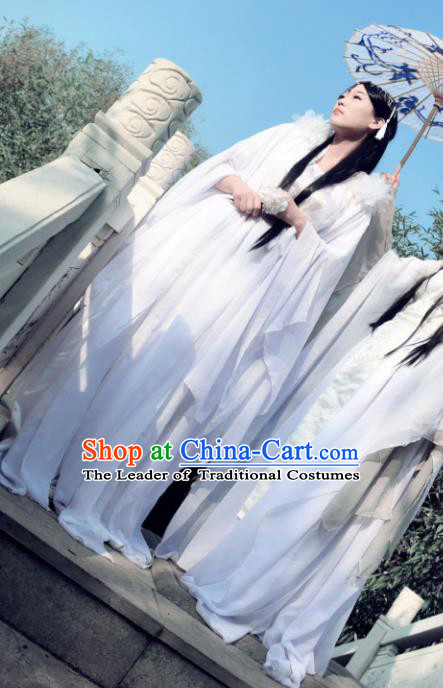 Chinese Ancient Female Knight Costume Cosplay Princess Fairy White Dress Hanfu Clothing for Women