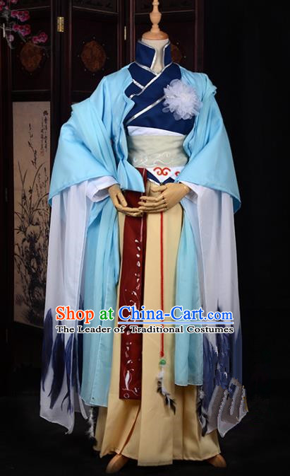 Chinese Ancient Swordswoman Costume Cosplay Tang Dynasty Heroine Dress Hanfu Clothing for Women