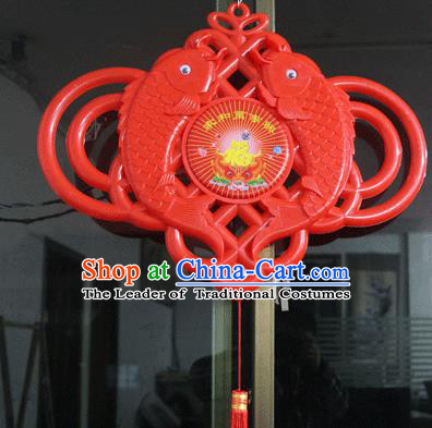 Traditional Handmade Chinese Lanterns Spring Festival Double Fishes Electric LED Lights Lamps Hanging Lamp Decoration