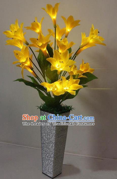 Traditional Handmade Chinese Yellow Lily Flowers Lanterns Electric LED Lights Lamps Desk Lamp Decoration