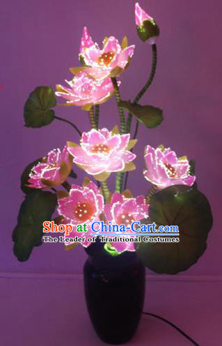 Traditional Handmade Chinese Pink Lotus Flowers Lanterns Electric LED Lights Lamps Desk Lamp Decoration