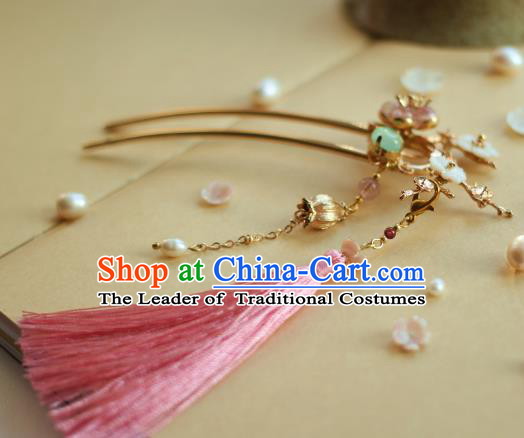 Traditional Chinese Ancient Pink Tassel Hair Clips Hair Accessories Handmade Hanfu Hairpins for Women
