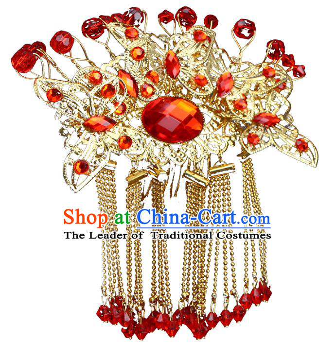 Chinese Ancient Wedding Hair Accessories Xiuhe Suit Hairpins Traditional Palace Lady Headwear for Women