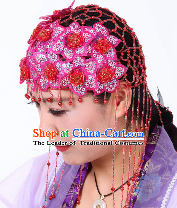 Chinese Traditional Classical Dance Hair Accessories Folk Dance Yangko Red Tassel Headwear for Women