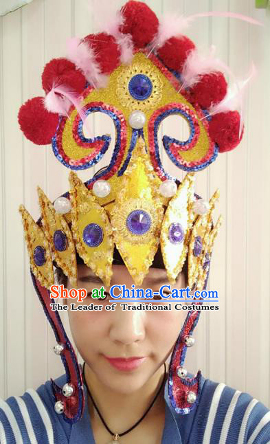 Chinese Classical Dance Hair Accessories Traditional Folk Dance Drum Dance Hats Headwear for Women