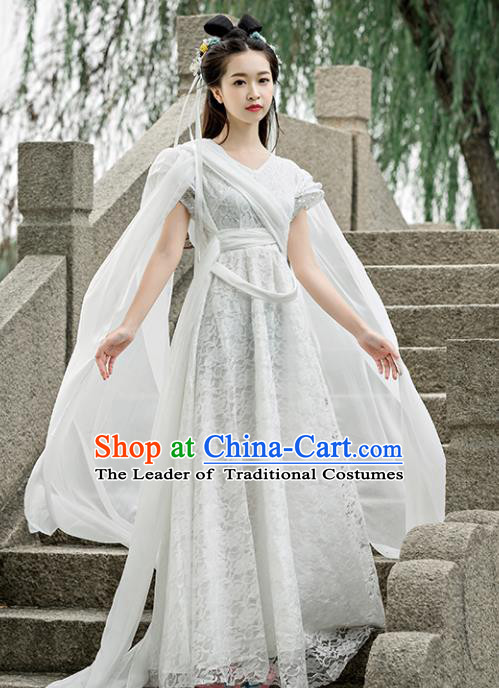 Traditional Chinese Ancient Fairy Swordswoman Costume, China Tang Dynasty Princess Hanfu Dress for Women