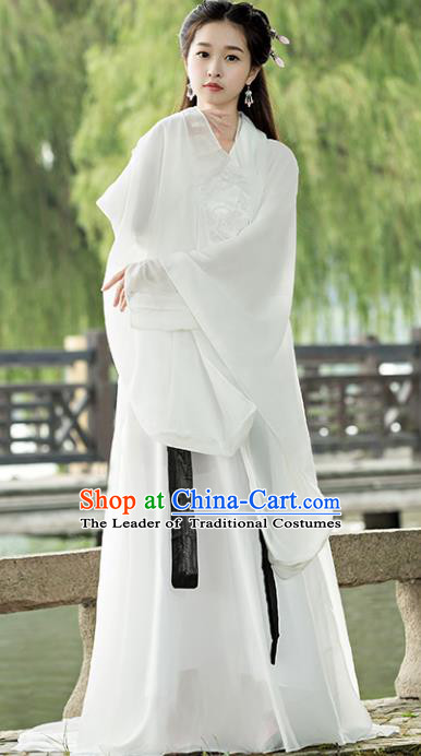 Traditional Chinese Ancient Fairy Costume Tang Dynasty Swordswoman White Hanfu Dress for Women