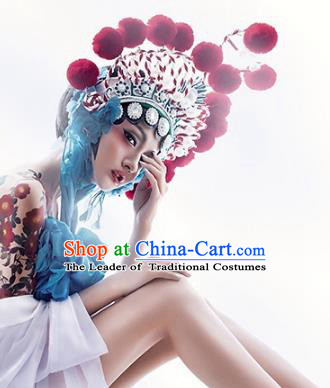 Chinese Ancient Beijing Opera Hair Accessories Phoenix Coronet Traditional Palace Lady Headwear for Women