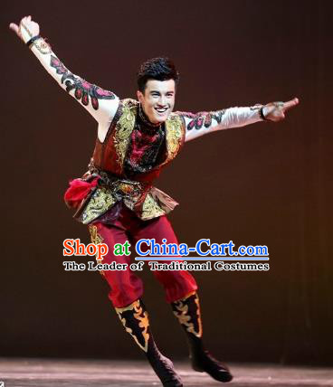 Traditional Chinese Folk Dance Embroidered Costume, China Uyghur Ethnic Minority Dance Clothing for Men