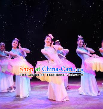 Traditional Chinese Folk Dance Classical Dance Costume, China Stage Performance Fan Dance Dress Clothing for Women
