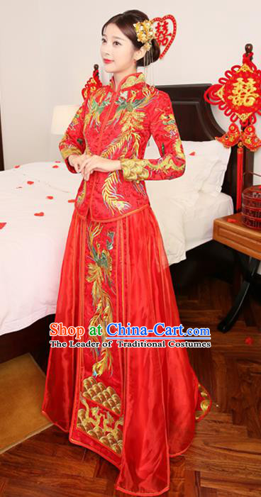 Chinese Traditional Bride Red Toast Clothing Embroidered Xiuhe Suits Ancient Bottom Drawer Wedding Costumes for Women