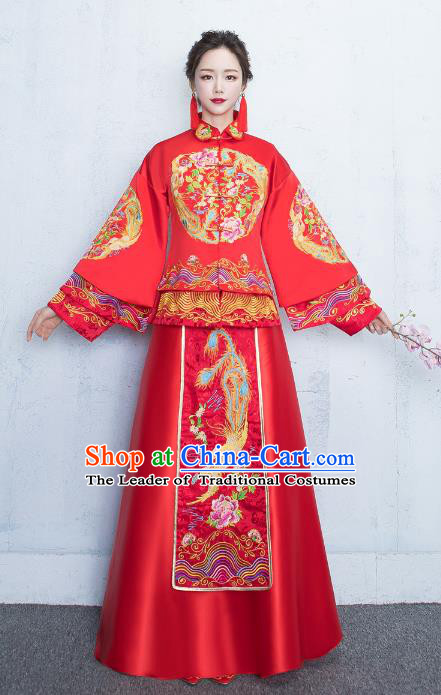 Chinese Traditional Bride Toast Clothing Xiuhe Suits Ancient Embroidery Peony Bottom Drawer Wedding Costumes for Women