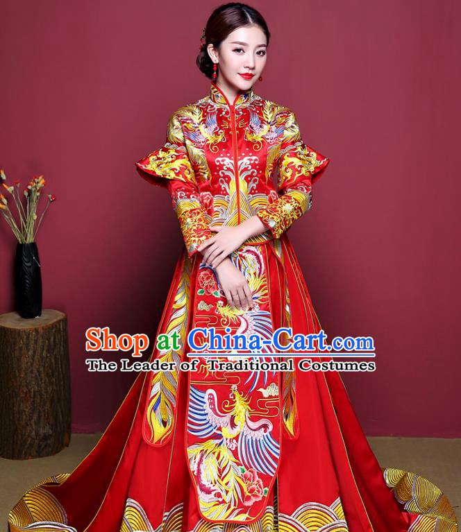 Chinese Ancient Wedding Costume Bride Delicate Embroidered Phoenix Dress, China Traditional Toast Clothing Xiuhe Suits for Women