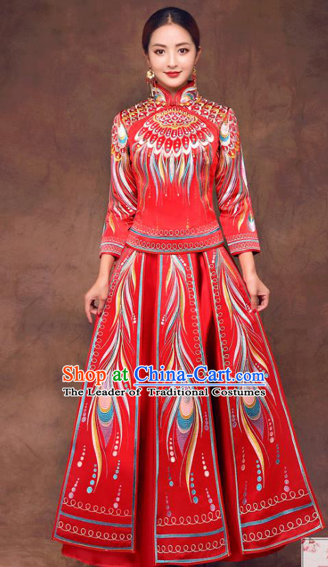 Chinese Ancient Wedding Costume Bride Toast Clothing, China Traditional Delicate Embroidered Phoenix Dress Xiuhe Suits for Women