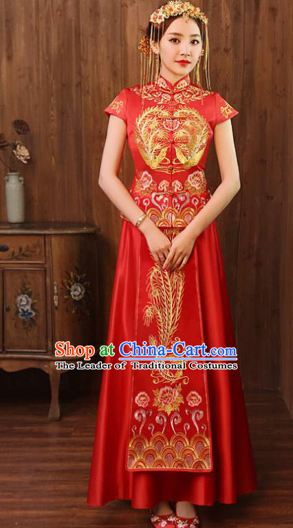 Chinese Traditional Wedding Costume, China Ancient Bride Embroidered Xiuhe Suit Clothing for Women