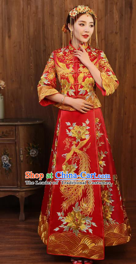 Chinese Ancient Wedding Costume Bride Toast Clothing, China Traditional Delicate Embroidered Peony Dress Xiuhe Suits for Women