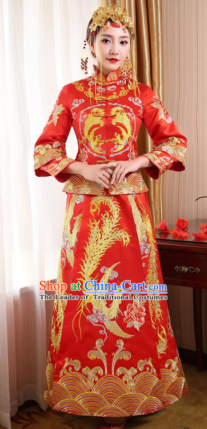 Chinese Traditional Wedding Dress Costume, China Ancient Bride Embroidered Phoenix Xiuhe Suit Clothing for Women