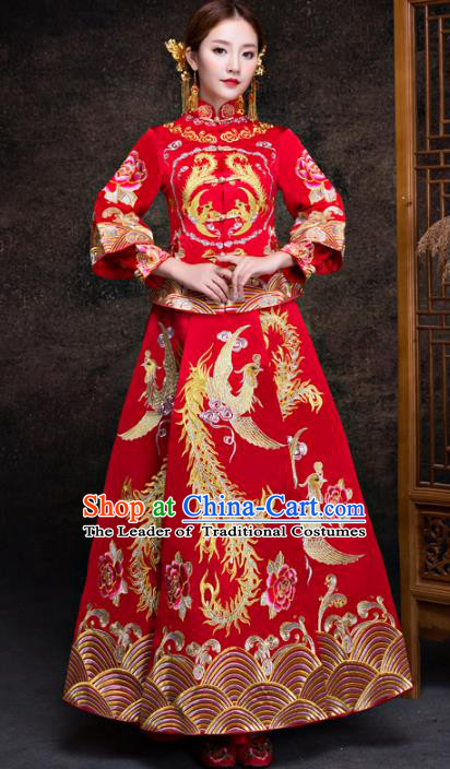 Chinese Traditional Red Xiuhe Suits Ancient Bride Embroidered Bottom Drawer Wedding Costumes for Women