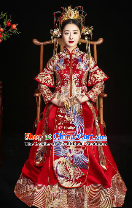 Chinese Traditional Xiuhe Suits Ancient Bride Embroidered Red Bottom Drawer Wedding Costumes for Women