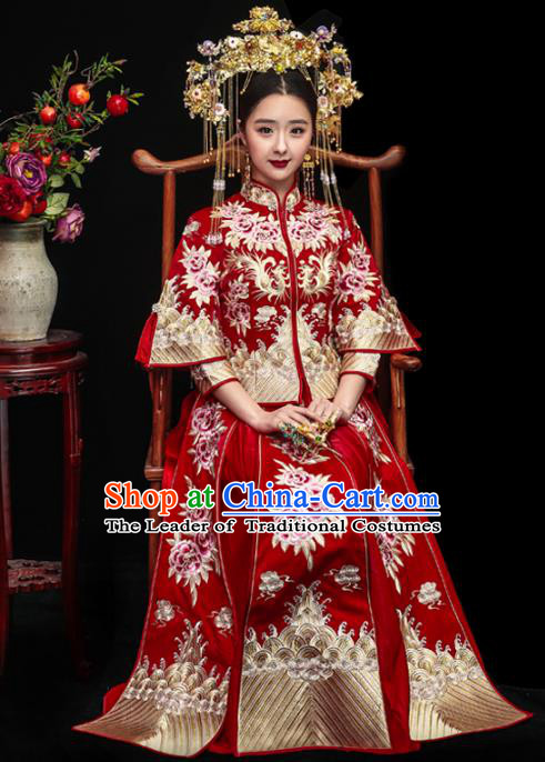 Chinese Traditional Xiuhe Suits Ancient Bride Embroidered Peony Red Bottom Drawer Wedding Costumes for Women