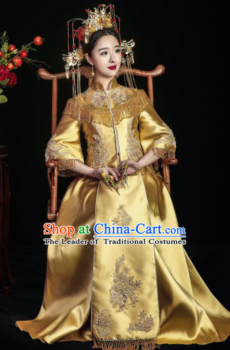 Chinese Traditional Toast Yellow Xiuhe Suits Ancient Bride Embroidered Bottom Drawer Wedding Costumes for Women