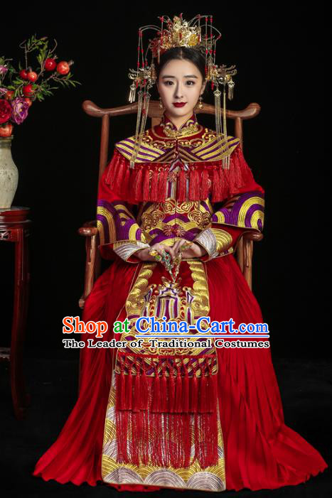Chinese Traditional Toast Red Tassel Xiuhe Suits Ancient Bride Embroidered Bottom Drawer Wedding Costumes for Women