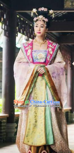 Ancient Chinese Tang Dynasty Imperial Empress Wang Embroidered Costumes Palace Queen Hanfu Dress for Women
