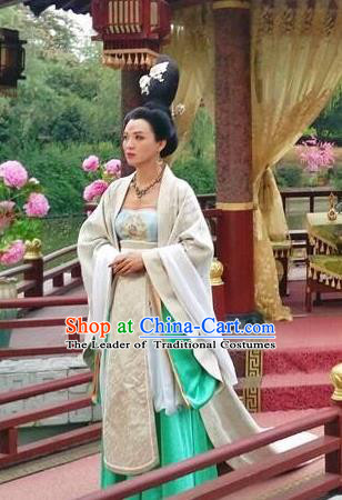 Chinese Tang Dynasty Princess Taiping Hanfu Dress Ancient Court Lady Embroidered Costumes for Women