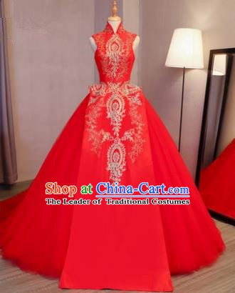 Top Grade Advanced Customization Embroidered Red Dress Wedding Dress Compere Bridal Full Dress for Women
