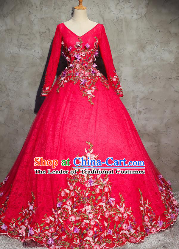 Top Grade Advanced Customization Evening Dress Red Wedding Dress Compere Bridal Full Dress for Women