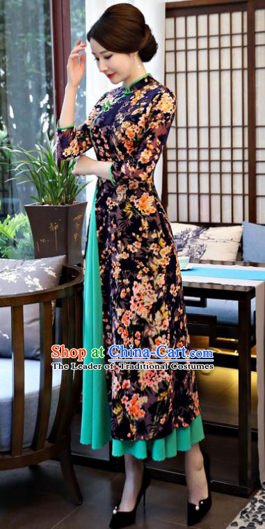 Top Grade Chinese Printing Flowers Black Velvet Qipao Dress National Costume Traditional Mandarin Cheongsam for Women