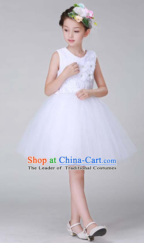 Top Grade Stage Performance Costumes Children Modern Dance White Bubble Dress Modern Fancywork Clothing for Kids