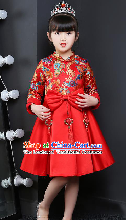 Chinese Traditional Folk Dance Red Cheongsam Fan Dance Costumes Children Classical Dance Yangko Clothing for Kids