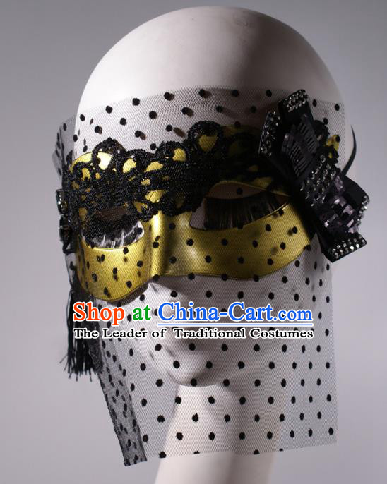 Halloween Fancy Ball Props Exaggerated Face Mask Stage Performance Accessories Golden Masks