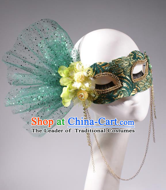 Halloween Fancy Ball Props Exaggerated Feather Green Face Mask Stage Performance Accessories Christmas Mysterious Masks