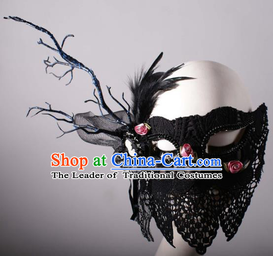 Halloween Fancy Ball Props Exaggerated Face Mask Stage Performance Accessories Christmas Mysterious Feather Masks